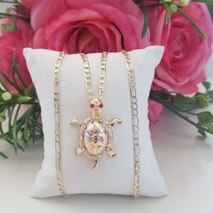 Jewelry - Large Gold Plated Turtle Necklace